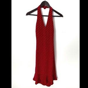 Ralph Lauren 100%Silk RedPolkaDot Fit&Flare Dress